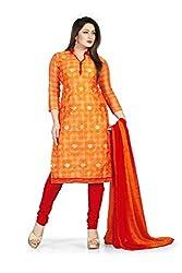 Bhagwati Women's Chanderi Unstitched Dress Material (Sultan1001_Orange_Freesize)