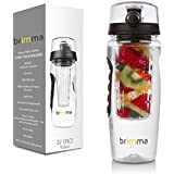 #1 Fruit Infuser Water Bottle - Large 32 Oz - Leak Proof - Made of Premium Eastman Tritan Copolyester - Make Your Own Healthy Fruit Infused Flavored Water, Iced Tea, Lemonade, & Juice While on the Go - By Brimma