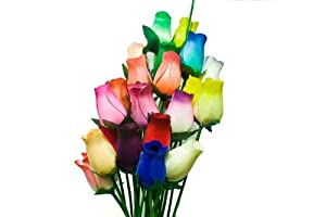 Forever Roses - Small Bud Wooden Roses Bouquet - Dozen