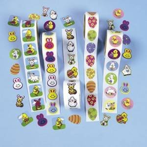 EASTER ROLL STICKER ASSORTMENT (5 ROLLS, 100 STICKERS/ROLL)
