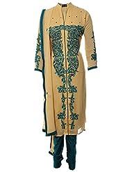 Azrajamil Womens Georgette Resham Straight Salwar Suit