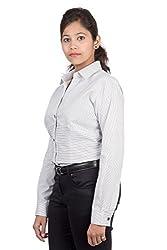 Juee Women's Striped Formal Shirt (JU104SY6FLWHT) (Small)