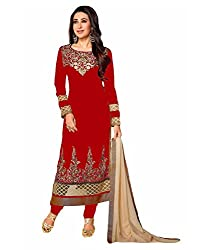 Varibha Women's Branded Indian Style Georgette Red Salwar Suit Dress Material ( Best Gift For Mom, Wife, Sister )