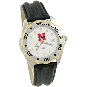 NCAA Nebraska Cornhuskers All-Star Watch with Black Leather Band by Logo Art