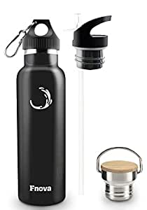 Fnova Insulated Stainless Steel Water Bottle, Double Walled Vacuum Flask, Standard Mouth with 3 Caps, BPA-Free, Cold 24 Hrs / Hot 12 Hrs, 21oz