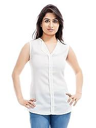 Femninora Women's Polyester Top (Fem-Tp-005_B_Off whiteMedium)
