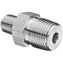Parker Stainless Steel 316 Pipe Fitting, Hex Nipple, NPT Male X NPT Male