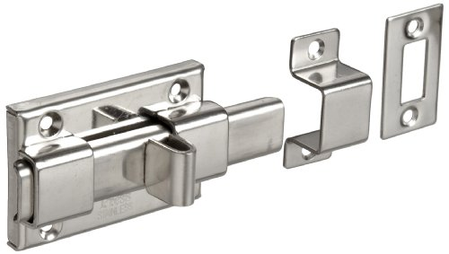 Stainless Steel 304 Slide Bolt Latch, Polished Finish, Non Locking, 2-9/16″ Bolt Plate Length, 59/64″ Throw Plate Length (Pack of 1)