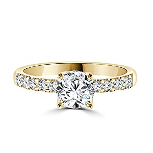 1 CT Pave Diamond Ring Round Shaped Stone with Accents H-I/I1-I2 14K Yellow Gold - IGI Certified