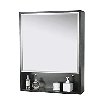 "Eclife 22"" x 28 Large Storage Bathroom Medicine Cabinet Organizer Mirror Storage Wood Adjustable Wall Mounted Mirror Cabinet Black C01"
