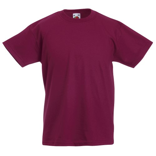 KINDER T-SHIRT FRUIT OF THE LOOM VALUE 128 140 152 164 164,Burgund