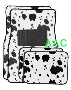 A Set of 4 Universal Fit Animal Print Carpet Floor Mats for Cars / Truck - Cow