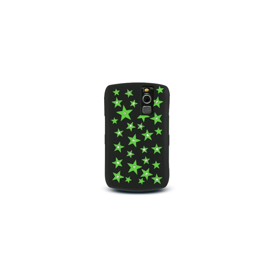 Green Star with Diamond Rhinestone Soft Silicone Skin Gel Cover Case for Blackberry Curve 8300 8310 8320 8330