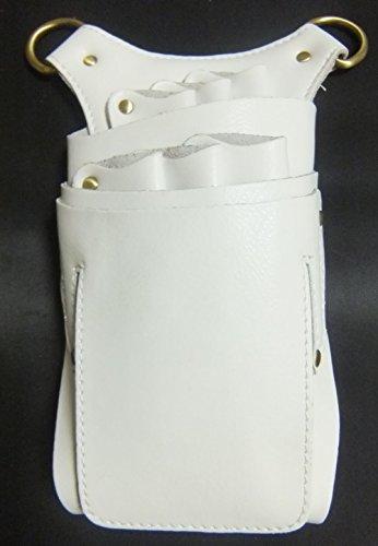 グッドライフEXPRESS 本革&合成皮革仕様 シザーケース バック 6丁 ホワイト 白 美容師プロ専用 トリマー