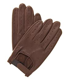 Pratt and Hart Men's Deerskin Leather Driving Gloves Size M Color Brown