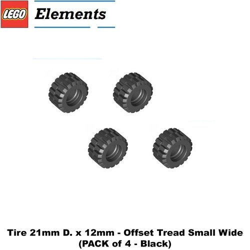 Lego Parts: Tire 21mm D. x 12mm - Offset Tread Small Wide (PACK of 4 - Black)