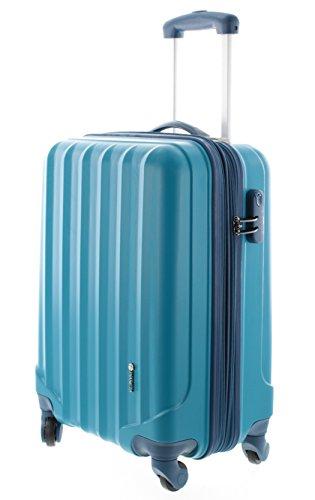 100-ABS-Hartschalen-Koffer-Trolley-mit-4-Rollen-und-Zahlenschloss-3-Farben-Pianeta-Serie-Ibiza-M-55cm-Blau
