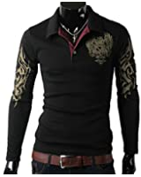 Zehui Mens Long Sleeve Casual Tee Shirts Slim Fit Eagle Tattoo Printed T-shirt