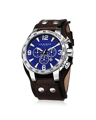 Akribos XXIV Men's AK727BU Blue/Brown Leather Cuff Watch