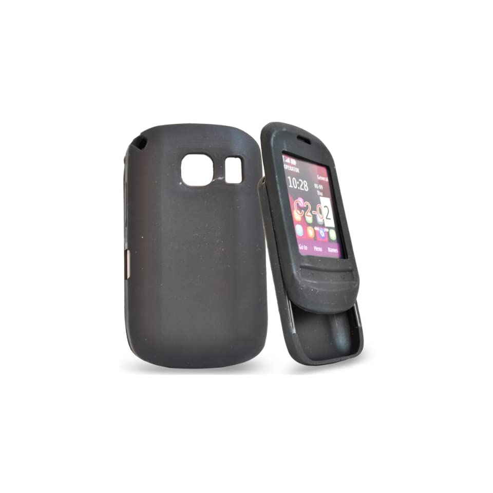 Mobile Palace   Black silicone case cover pouch holster for nokia c2 02