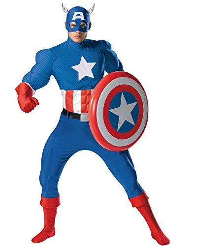 Mens Large 42-46 Supreme Rental Captain America Costume And Shield Bundle