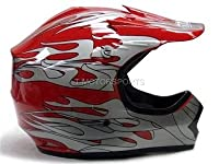 Youth Red Flame ATV Motocross Dirt Bike Off-Road MX Gear Helmet DOT (Medium) from T-Motorsports