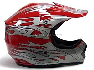 TMS® Youth Red Flame ATV Motocross Dirt Bike Off-Road MX Gear Helmet