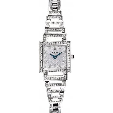 Bulova 96L140 Ladies Crystal Silver Tone Watch