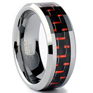 8MM Men's Tungsten Carbide Ring W/ BLACK & RED Carbon Fiber Inlay Size 8.5