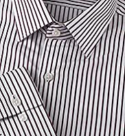 "2"" Longer Autograph Pure Cotton Striped Twill Shirt"