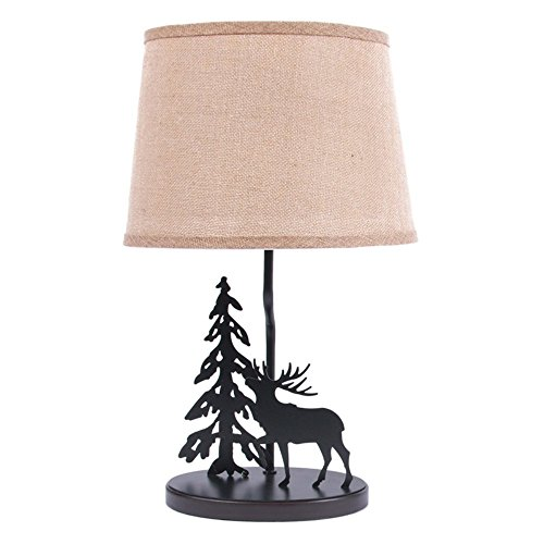 Dennis East International Metal Burlap Shade Moose Lamp