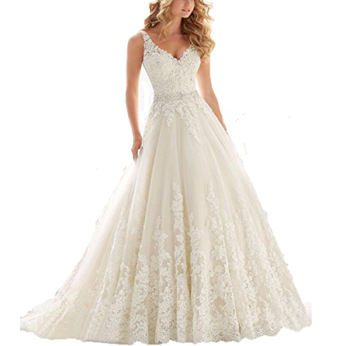 Fair Lady Women's Double V-Neck Lace Applique Empire Chapel Train Wedding Dress