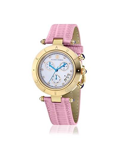 Klaus Klobec Women's Couture Pink/White MOP Swarovski Watch