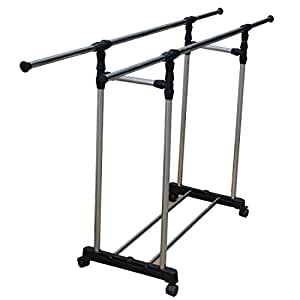portable double adjustable clothes rack hanger. Black Bedroom Furniture Sets. Home Design Ideas