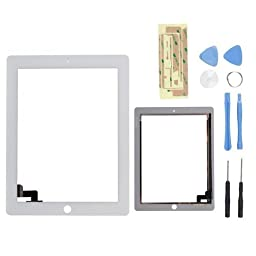White Touch Screen Digitizer Front Glass for Ipad 2 A1395 A1397 A1396