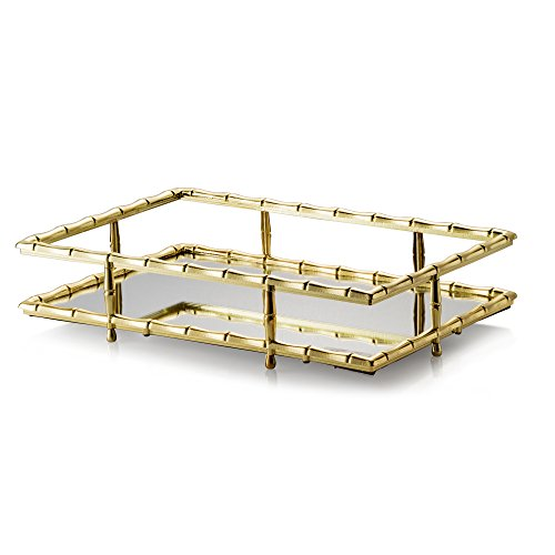 JT ROSE & CO. GOLD BAMBOO RECTANGLE MIRROR TRAY 12X8X2.5 T10682