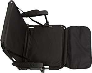 Trademark Innovations Stadium Chair with Under Seat Hooks and Padding, Black by Trademark Innovations