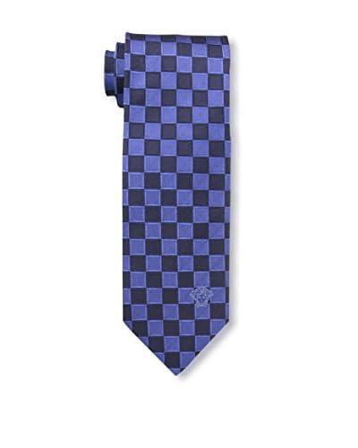 Versace Men's Checkered Woven Silk Tie, Black/Blue