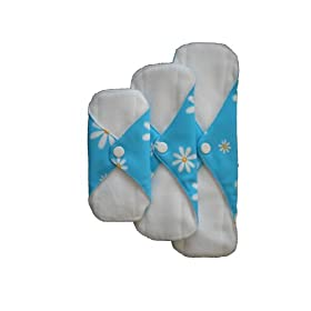 FuzziBunz Mother of Eden Cloth Menstrual Comfort Pads 3 Pack Combo - Blue Daisy