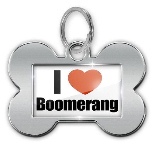 "Dog Bone Pet ID Tag ""I Love Boomerang"" - Neonblond"