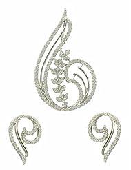 Antique CZ Diamond Pendant Set In Leaf Design