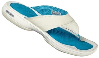 Reebok Women's Easytone Flip Ii Shoes Creme/Silver/Blue/Khaki Synthetic 9.5 Uk