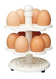 KitchenCraft Cast Iron Egg Holder Stand in Cream - Holds 12 Eggs by KitchenCraft