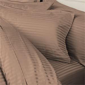 Italian 1200 Thread Count Egyptian Cotton Duvet Cover Set , King, Taupe Stripe, Premium Italian Finish
