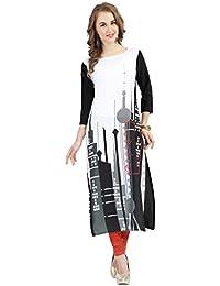 Ziyaa Black Colour Boat Neck With Cap Sleeve Faux Crepe Digital Print Kurti