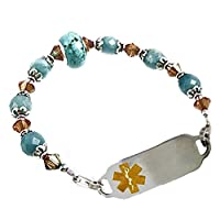 "Medical ID Alert Beaded Brazillian Sky Bracelet, FREE Engraving, Sizes 6.75"" to 9.5"" from Creative Medical ID"