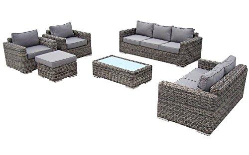 Baidani-Gartenmbel-Sets-10a00002-Designer-Lounge-Garnitur-Escape-3-er-Sofa-2-er-Sofa-2-Sessel-Hocker-mit-Auflage-1-Couch-Tisch-mit-Milchglasplatte-braun