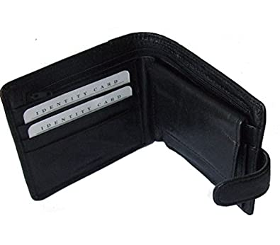 Mens Soft Leather Quality Black Wallet with Card Case