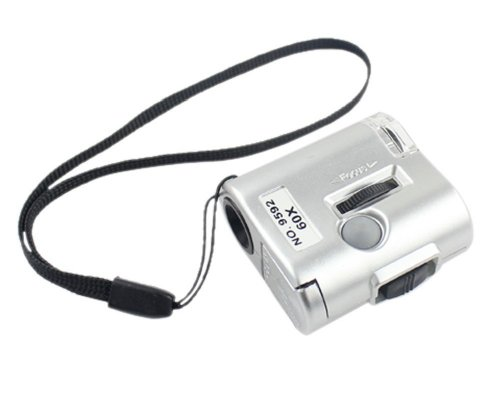 Grandindex 60X Mini Microscope Uv Light Magnifier Loupe #9592 Led Lens With Currency Inspection Function For Jewelry Detection