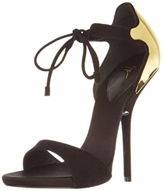 Giuseppe Zanotti Women's Gold Back Ankle Strap Sandal,Nero,6 M US